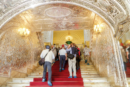 Tehran, Iran. October 23, 2016 : Tourists entering the Talar e Brelian (Brilliant Hall). Golestan palace. Redakční