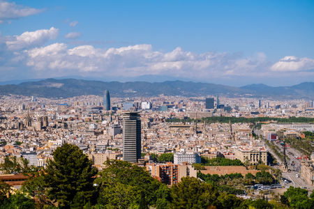 Cityscape view of Barcelona city, Spain.