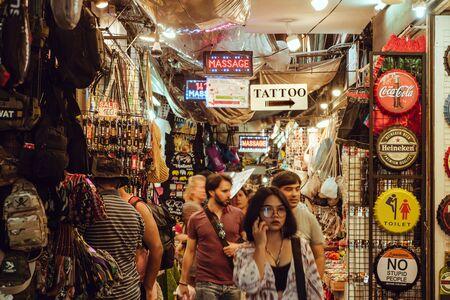 Bangkok,Thailand. November 16,2019 : Shops in a narrow alley of famous landmark Chatuchak or Jatujak JJ weekend market.