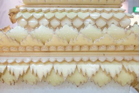 Bangkok,Thailand. Jan 31,2020 : Natural material handmade handcraft traditional Thai ancient pattern artwork carved banana stalk pith for decorating Éditoriale