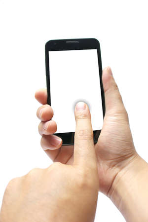 Hand to operate the smartphone
