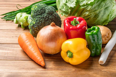 Green and yellow vegetables Stock Photo
