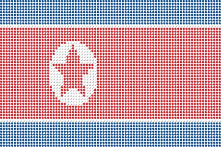 north korea: North Korea Flag Dot Vector Illustration