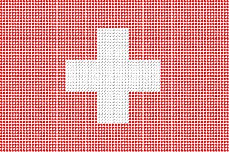 zwitserland vlag: Zwitserland Vlag Dot Vector