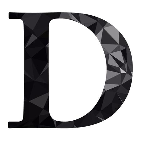 d: Black Alphabet d Polygon Style, Creative Design Templates Illustration
