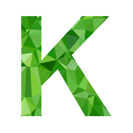 diamond letter: Green Alphabet k Polygon Style, Creative Design Templates