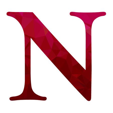 Red Alphabet n Polygon Stil, kreative Design-Vorlagen