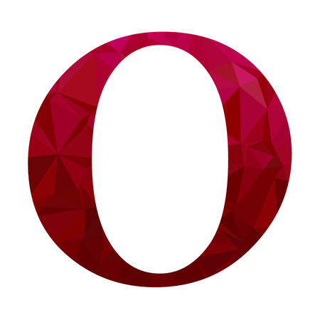 diamond letter: Red Alphabet o Polygon Style, Creative Design Templates