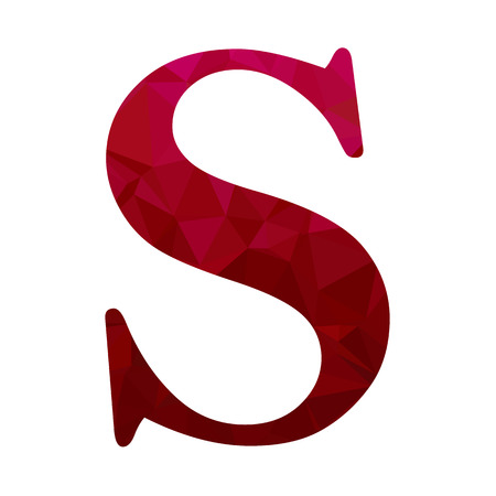 s shape: Red Alphabet s Polygon Style, Creative Design Templates Illustration