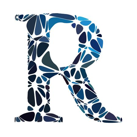 Blue Alphabet r Cell Style, Creative Design Templates