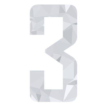 numbers abstract: Gray White Alphabet Number Polygon Style Illustration