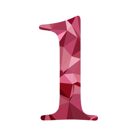 numbers background: Red Alphabet Number Polygon Style