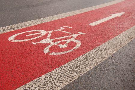 orthographic: Bike lane after rain Stock Photo
