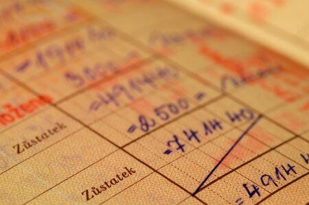 cuenta bancaria: Un registro de cuenta bancaria - escrita a mano - 25 a�o de edad. En lengua checa.