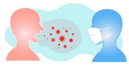 Silhouette illustration of mask spray infection aerosol splash infection