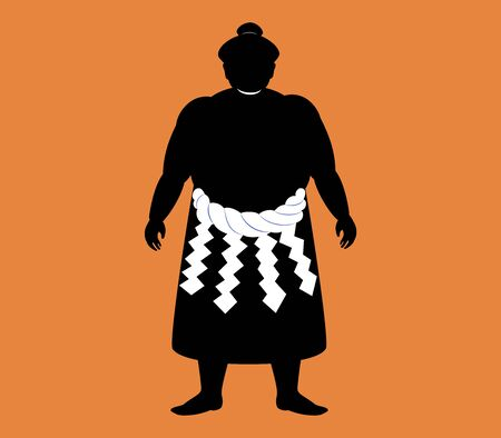 Japanese Sumo wrestler . silhouette vector art Illustration