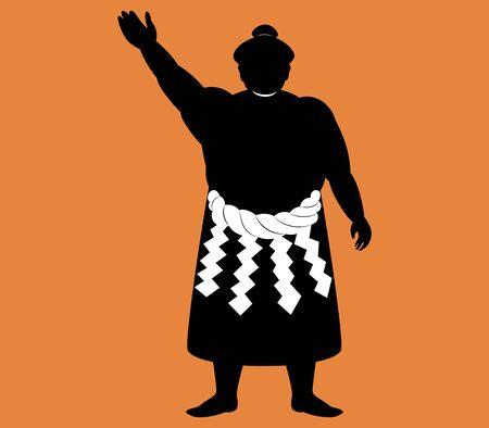 Japanese Sumo wrestler . silhouette vector art