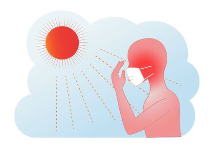Summer mask and heatstroke silhouette figures  illustrations 일러스트