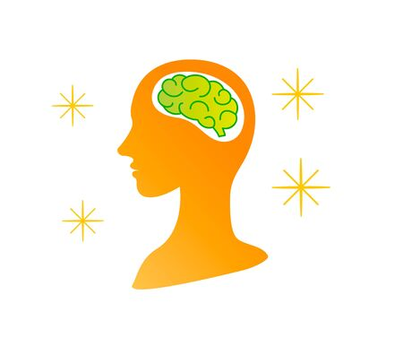 Silhouette of healthy smart persons brain