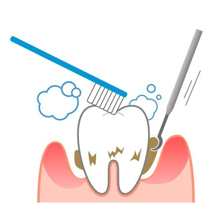 Periodontal disease bleeding toothpaste  illustrations