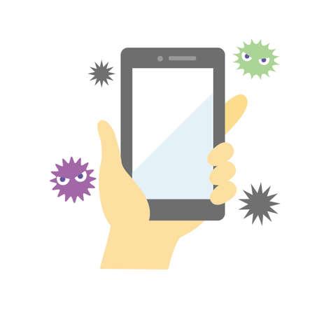 Disinfection of smartphone and banana coronavirus 向量圖像