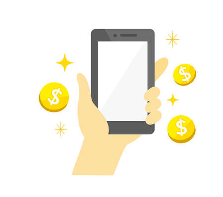 Hands holding a smartphone Money and shopping campaign