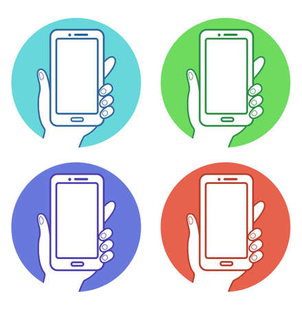 Hand holding a smartphone line icon 向量圖像