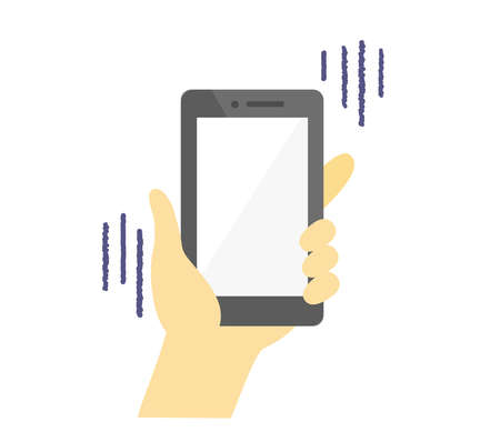 Illustration of a hand holding a smartphone