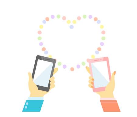 Smartphone man and woman dating app Vektorgrafik