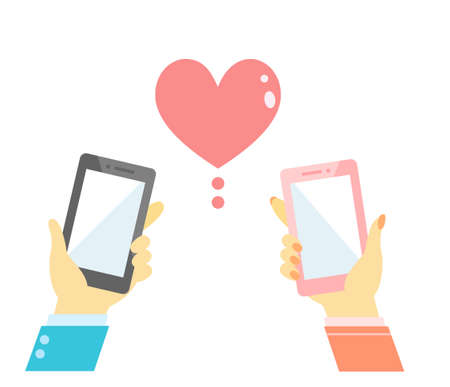 Smartphone man and woman dating app