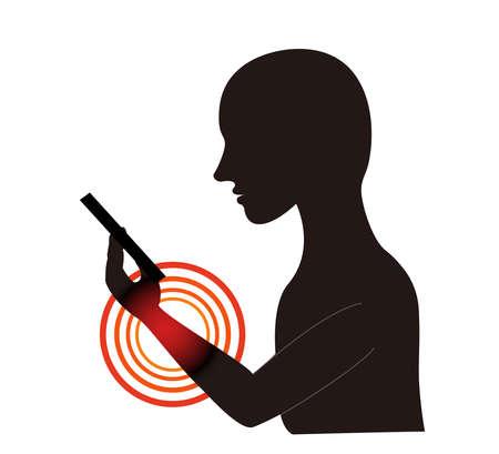Straight neck with smartphone stiff shoulder neck stiffness