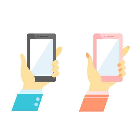 Illustration of a hand holding a smartphone 向量圖像