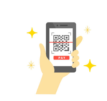 Smartphone electronic payment Bar code payment shopping 向量圖像