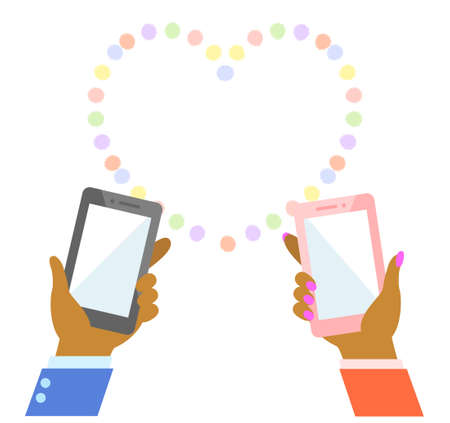 Illustration of a  black people African  hand holding a smartphone 版權商用圖片 - 157519747