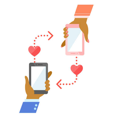 Illustration of a  black people African  hand holding a smartphone 向量圖像