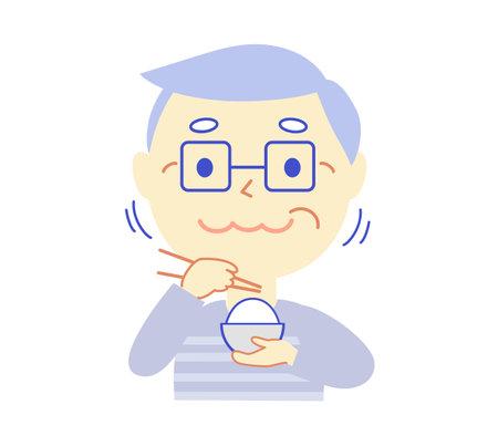 Elderly person and Meal: Dental Illustration 向量圖像