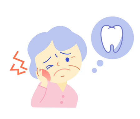 Elderly and Tooth Pain: Dental Illustration