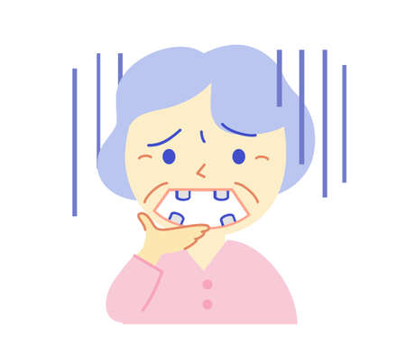 Elderly rattling teeth without teeth: Dental illustration