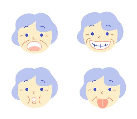 Elderly Mouth Muscle Gymnastics: Dental Illustration