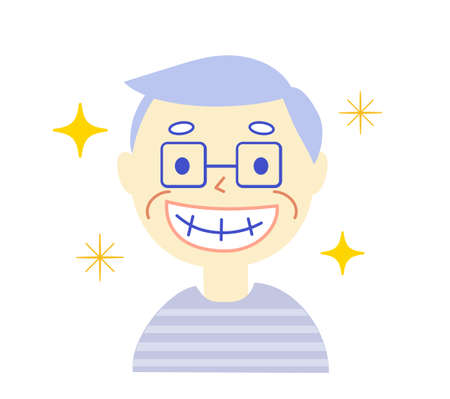 Elderly person and Toothpaste: Dental Illustration
