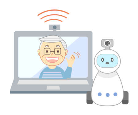 Elderly people living alone and watching robots