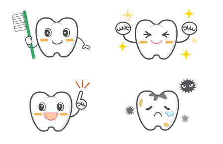 Dental character facial expression illustration set