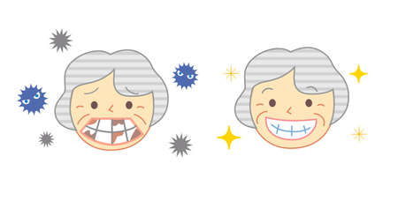 Elderly person and Caries bad smell: Dental Illustration 向量圖像
