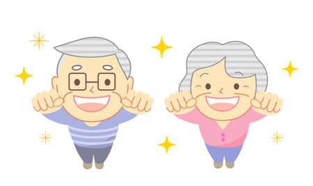 Elderly people raise a clenched fist with mask