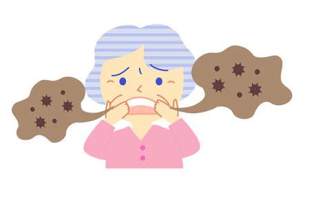 Elderly and bad breath: dental illustrations