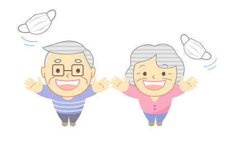 Illustration of an elderly person throwing a mask into the sky High angle 向量圖像