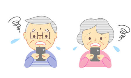 Illustrations of troubled elderly people and smartphones