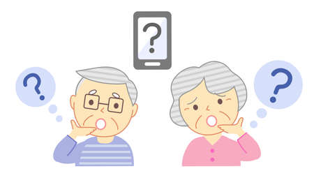 Elderly people with doubtful facial expressions and smartphones