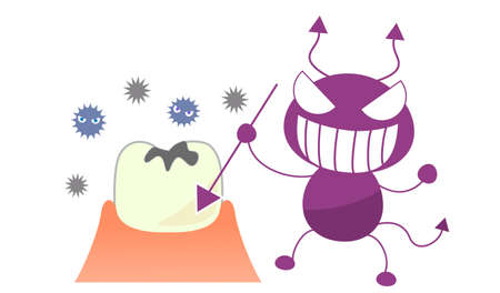 Caries and germs character illustration