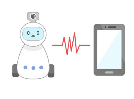 Watching robot and smartphone illustration 向量圖像
